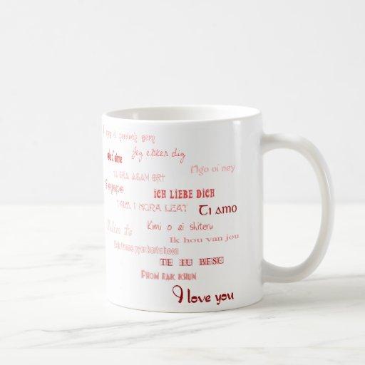 Liebe I Sie in den verschiedenen Sprachen Tee Tassen