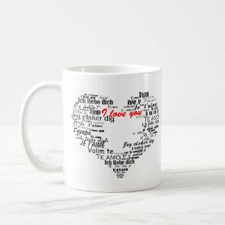 Liebe I Sie in der verschiedene Tasse