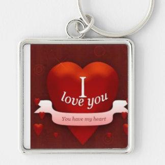 Liebe I Sie Silberfarbener Quadratischer Schlüsselanhänger