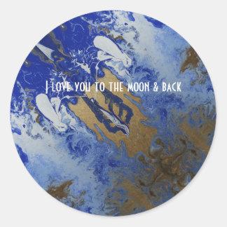 Liebe I Sie zum Mond Runder Aufkleber