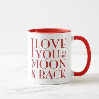 Liebe I Sie zum Mond- und Rückseitenrot auf Weiß Tasse