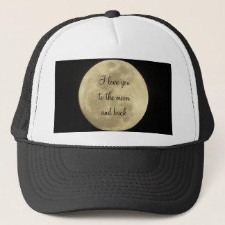 Liebe I Sie zum Mond und zum hinteren Hut Truckerkappe
