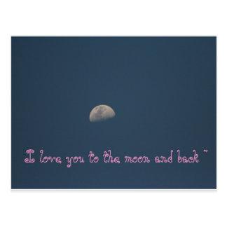Liebe I Sie zum Mond und zum hinteren Postkarte