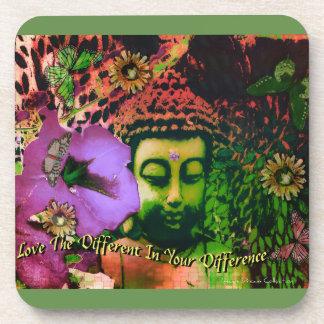 Liebe Ihr Unterschied-Retro Buddha-Untersetzer-Set Getränkeuntersetzer