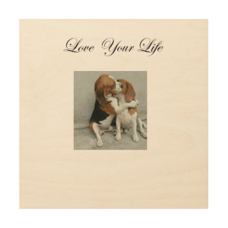 Liebe Ihre Leben-Beagle-Holz-Kunst Holzleinwand