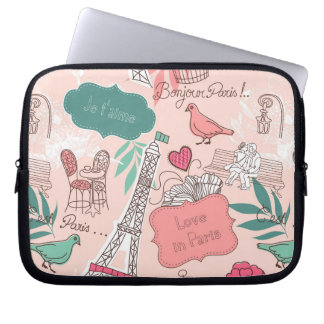 Liebe im Paris-Muster-Rosa Laptopschutzhülle