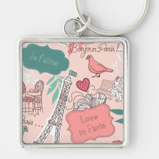 Liebe im Paris-Muster-Rosa Schlüsselanhänger
