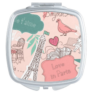Liebe im Paris-Muster-Rosa Schminkspiegel