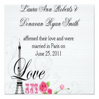Liebe im Paris-Posten-Hochzeits-Empfang Karte