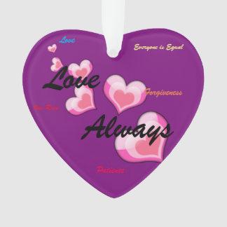 Liebe-immer Trumpf-Hass-Herz-Verzierung Ornament