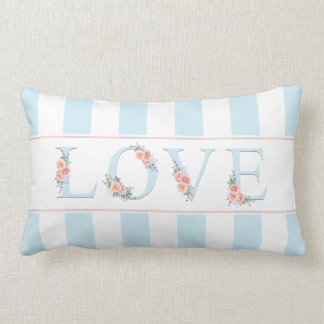 Liebe in den Blüten-Pastell-Streifen Lendenkissen