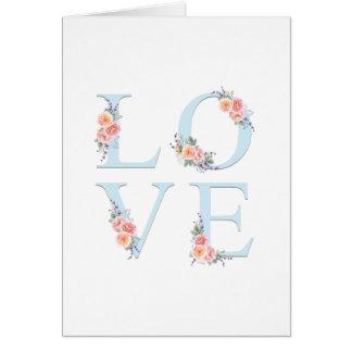 Liebe in der Blüten-romantischen Blumentypographie Karte
