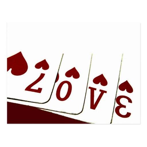 Liebe in Herz-Spielkarten Postkarte