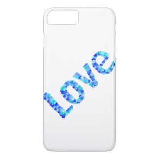Liebe in Herzen mutiges helles u. klares | Blau iPhone 8 Plus/7 Plus Hülle