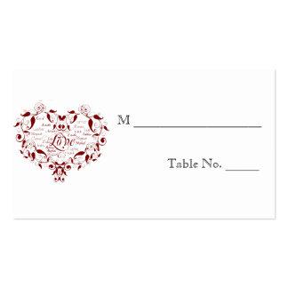 Liebe in irgendwelchen Sprachroten Visitenkarten