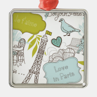 Liebe in Paris-Muster Quadratisches Silberfarbenes Ornament