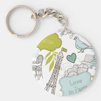 Liebe in Paris-Muster Schlüsselanhänger