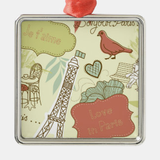 Liebe in Paris-Muster Silbernes Ornament