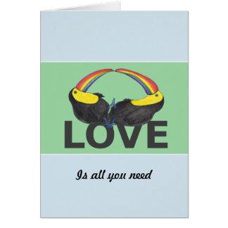 Liebe ist alle, die Sie - niedliche toucans Grußkarte
