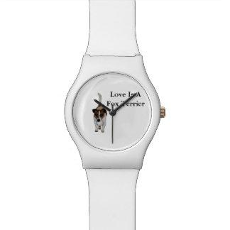 Liebe ist ein Fox-Terrier, die weißen Damen kann Armbanduhr