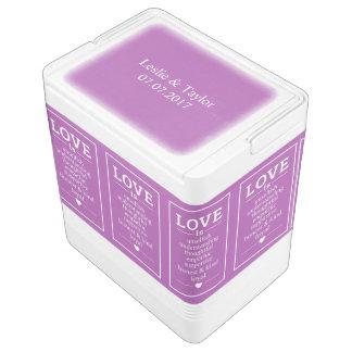 Liebe ist… individuelle Namen, Datum u. färbt Kühlbox