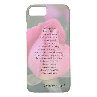 Liebe ist, Korinther versifizieren, rosa Rose w iPhone 8/7 Hülle