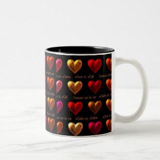 Liebe ist Leben-Tasse Zweifarbige Tasse