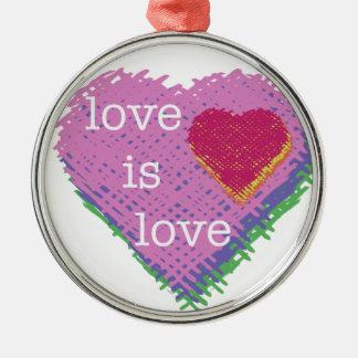 Liebe ist Liebe-Herz-Feiertags-Verzierung Silbernes Ornament