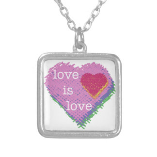 Liebe ist Liebe-Herz-Halskette Versilberte Kette