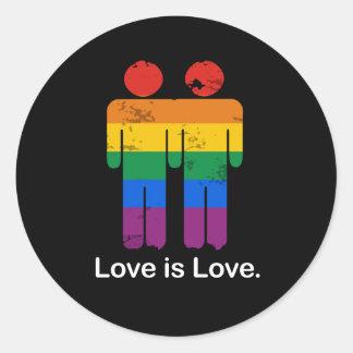 LIEBE IST LIEBE-HOMOSEXUELL-PAAR RUNDER STICKER