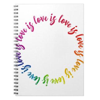 Liebe ist Liebe ist Lieberegenbogenkreis Spiral Notizblock