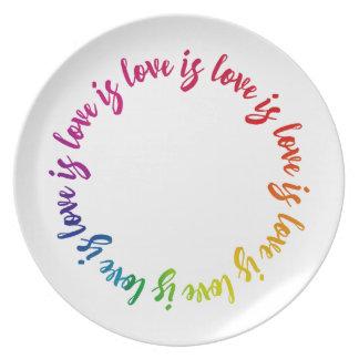 Liebe ist Liebe ist Lieberegenbogenkreis Teller