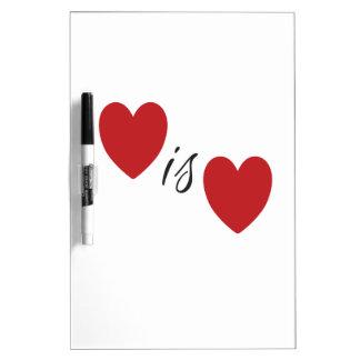 Liebe ist Liebe Trocken-Löschen Brett Memoboard