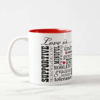 Liebe ist Liebe, Wort-Angelegenheit Zweifarbige Tasse
