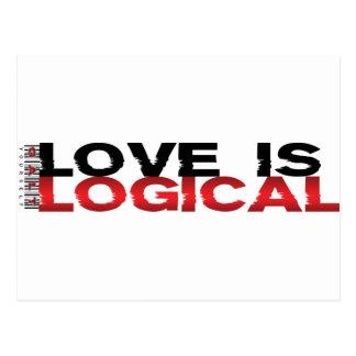 Liebe ist logisch postkarte