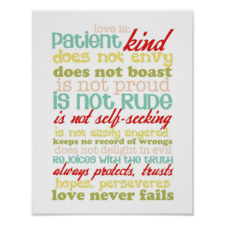 Liebe ist Plakat der Korinther 13 des Patienten 1