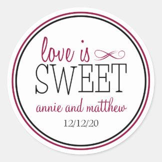 Liebe ist süße Aufkleber (Beere/Schwarzes)