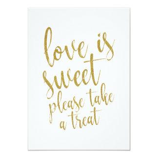 Liebe ist süßer GoldGlitter-erschwingliches Karte
