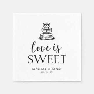 Liebe ist süßer | Hochzeits-Kuchen-Ausschnitt Papierservietten