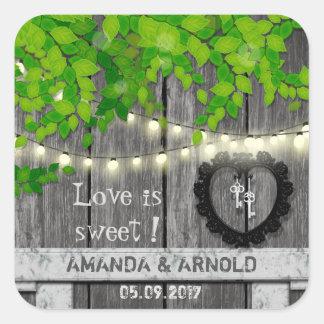 Liebe ist süßer niedlicher Hochzeit announcemet Quadratischer Aufkleber