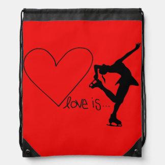 Liebe ist Zahl Skaten, Herz, der Rucksack, ROT Sportbeutel