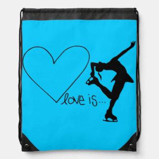 Liebe ist Zahl Skaten, Herz, Rucksack, AQUA Turnbeutel