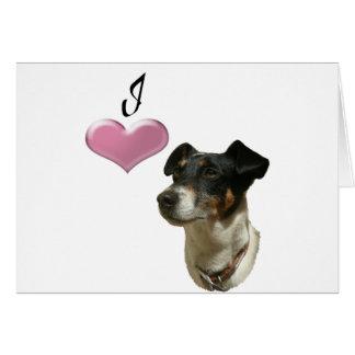 Liebe-Jack-Russell-Hund mit Herzen 3D Karte