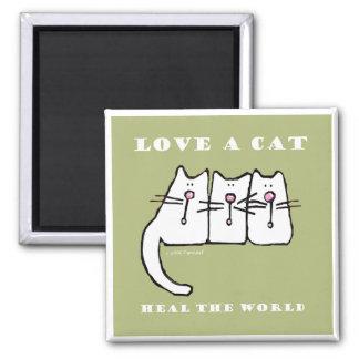Liebe Kätzchen einer Katzen-drei Quadratischer Magnet