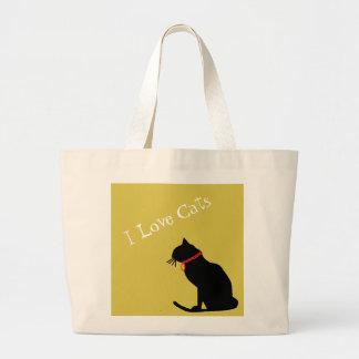Liebe-Katzen des Tunnel-bohrwageni gelb und weiße Jumbo Stoffbeutel