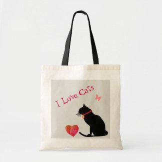 Liebe-Katzen des Tunnel-bohrwageni rot und weiße Tragetasche