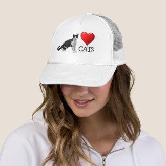 Liebe-Katzentuxedo-Katzen-Fernlastfahrer-Hut Truckerkappe