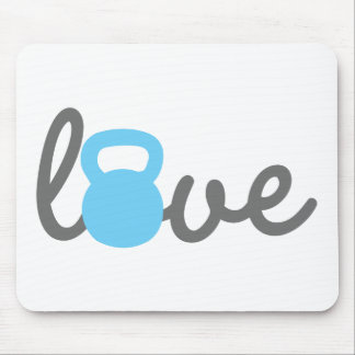 Liebe Kettlebell Blau Mousepad