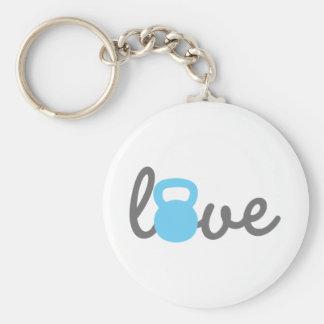 Liebe Kettlebell Blau Schlüsselanhänger