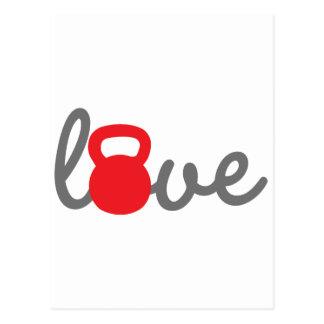 Liebe Kettlebell Rot Postkarte